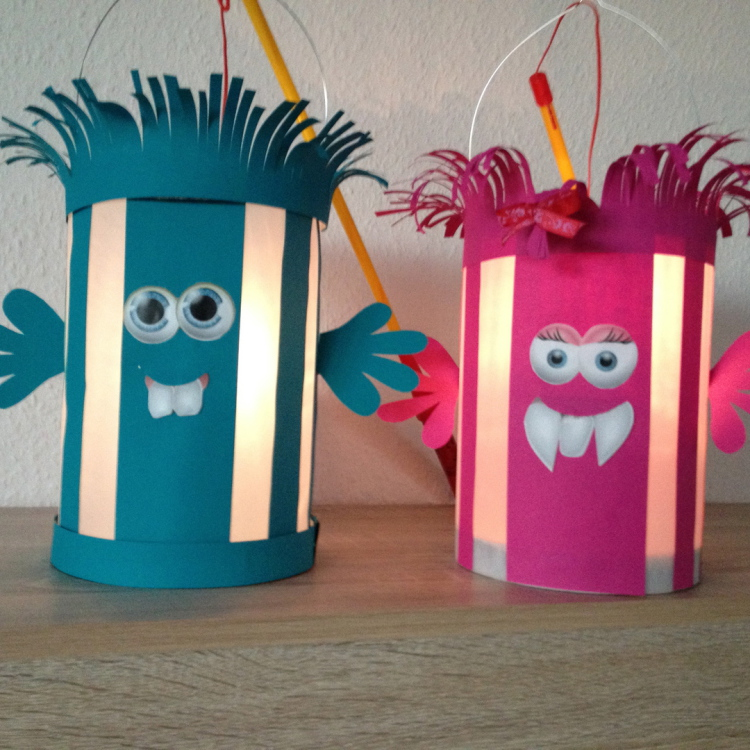 Bunte Monsterlaternen aus Papier