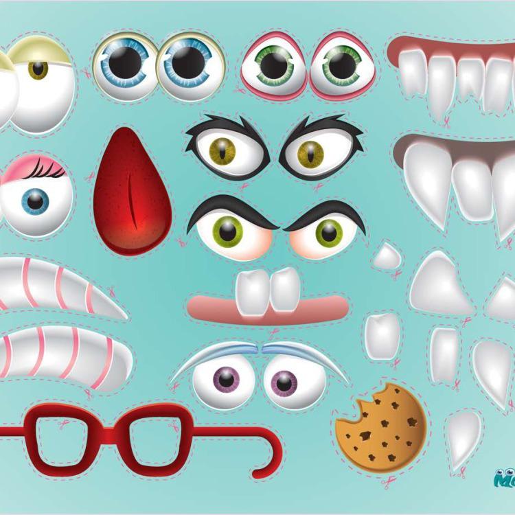 Bastelbogen - Monsterzähne, Monsteraugen und Monsterhörner