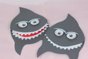 Bastelbogen - grauer Hai aus Papier